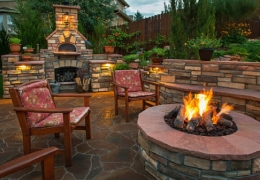Stone fire pit on stone patio