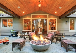 Patio furniture around fire pit